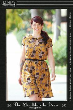 The Miz Mozelle Dress sewing pattern is a vintage inspired pattern that features a peter pan collar, keyhole neckline, and an easy to make elastic waist. The booklet includes full size pattern pieces, Glossary of terms, and illustrated instructions in color.