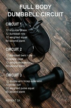 Hiit Workout Videos, Full Body Dumbbell Workout, Hiit Workout At Home, At Home Workouts, Interval Workouts, Workout Circuit, Workout Plans, Workout Fitness, Workout Body