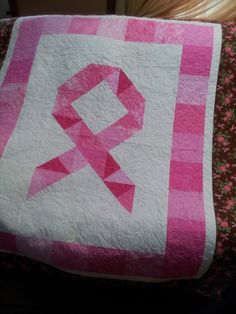 Breast Cancer Awareness Ribbon Quilt by QUILTS2SEW on Etsy