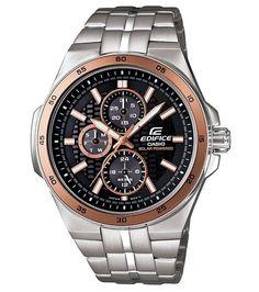 Casio EF340SB-1A5 Men's Edifice Rose Gold Tough Solar Power SS Black Dial Watch