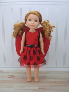 Ladybug Costume for AG Wellie Wisher ® - Halloween Costume - Wella Doll Clothes - pinned by pin4etsy.com