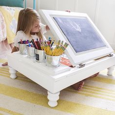 Thinkin' back-2-school yet? I know we are... School starts next week for us! This tutorial is up on my blog for how to take a $15 cabinet from Habitat for Humanity and make it into this awesome desk! Perfect for any elementary school-aged kiddo!
