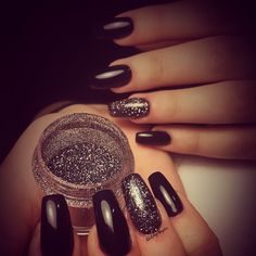 Fullset acrylic with black gel and black glitter powder  #NailsbyAngiee