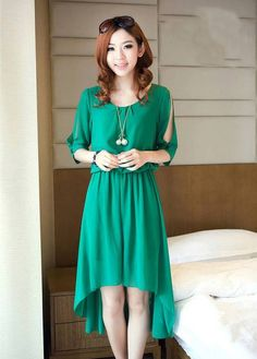 Trendy High Low Hem High Waist Green Chiffon Dress.Dresses Style: Classic .Neckline: Round neck .Sleeve Style: Off The Shoulder .Sleeve Length: Half Sleeve .Dresses Silhouette: High Low .Material: Chiffon .Dresses Length: Knee Length.