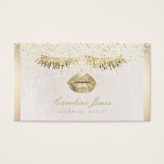 #makeupartist #businesscards - #faux gold foil makeup artist business card