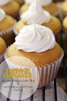 Todd & Lindsey: Twinkie Cupcakes with Marshmallow Cream Filling and Marshmallow Buttercream frosting