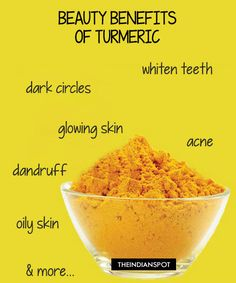 Turmeric has anti-fungal, antiseptic and anti-bacterial properties as well as being a natural inflammatory, so it's ideal to use in skin care.  Lighten Skin using turmeric: Turmeric is known for centuries for its anti-bacterial and antiseptic properties. For a tbsp of honey add pinch of turmeric and use it as a cleanser, massage the