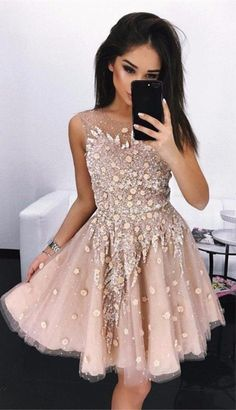 unique pink short prom dresses with appliuqes, chic above knee length homecoming dresses for teens, a line graduaiton gowns for 8th grade #homecoming
