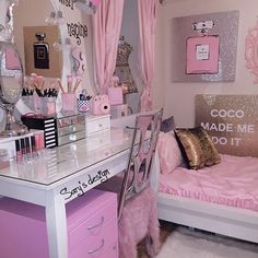 Teen girl bedrooms, get this example for a complete plush teen girl room styling, reference number 7513876208 Cute Bedroom Ideas, Cute Room Decor, Girl Bedroom Designs, Teen Room Decor, Glam Bedroom, Bedroom Decor, Pretty Room, Teen Girl Bedrooms, Pink Bedrooms
