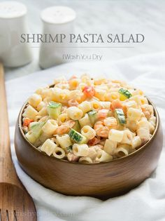 Shrimp Pasta Salad--very good! made this but changed some of the proportions to fit what I had. Added a little celery and lemon juice. Used mini wagon wheel pasta. Shrimp Salad, Shrimp Pasta, Baby Shrimp, Chicken Pasta, Pasta Salad Recipes, Shrimp Recipes, Antipasto, Easy Pasta Dishes, Soup And Salad