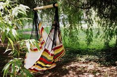 Items similar to Comfortable hanging hammock chair with colorful stripes on Etsy