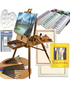 Art Set with HARDWOOD French Easel, Paints, Stretched Canvases, Brush Sets, Drawing Supplies and More