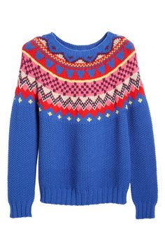 Love the colors of this brightly hued wool sweater - perfect for adding some fun color into the fall wardrobe.