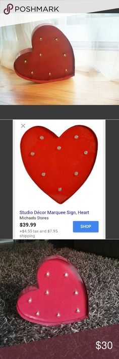 Studio Decor Marquee Heart Sign! My wedding decor. Bulbs work perfectly. Batteries will come included. Normally sold for $39.99 plus tax at Michaels. Studio Decor Other