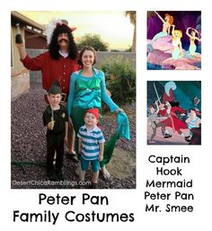 Peter Pan and the Neverland Crew Halloween costumes. They have the entire cast if you click through!
