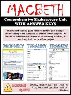 This student-friendly guide helps students to develop a deeper understanding of Macbeth and its themes. This is a comprehensive unit which includes introductory notes, activities, questions, final test and final project (answer keys are included). Education English, Teaching English, Teaching Theatre, British Literature, Secondary Teacher, High School English, English Classroom, Macbeth Essay, Lady Macbeth