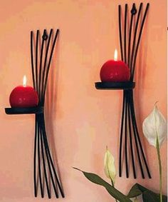 European style metal candle holders wall candle stand cast Iron home decoration art decor accent price is for size: candles are not included. real product color may differ from the photo due to photograph process Wrought Iron Candle Holders, Metal Candle Holders, Candle Stand, Handmade Home Decor, Cheap Home Decor, Handmade Gifts, Chandelier Bougie, European Home Decor, European Style