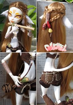 [DETAIL] Custom Catrine DeMew Monster High Avatar Wild Cat Nature Spirit Kitsune Fox Repaint OOAK Doll by Dollightful