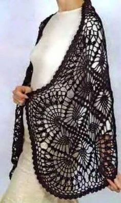 Crochet Lace Wrap Pattern - charted only. Poncho Au Crochet, Beau Crochet, Pull Crochet, Crochet Wrap Pattern, Mode Crochet, Crochet Shawls And Wraps, Thread Crochet, Crochet Scarves, Crochet Clothes