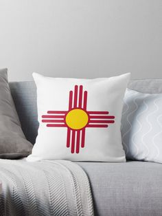 New Mexico Flag Symbol Patriotic Red Sun. Great gifts for New Mexico patriots. • Millions of unique designs by independent artists. Find your thing. Throw Pillows Bed, Bed Throws, Floor Pillows, Decorative Throw Pillows, New Mexico Flag, Red Sun, Patriots, Wall Tapestry, Great Gifts
