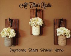 Set of 3 Rustic Mason Jar Sconces Wall Sconces by AllThatsRustic