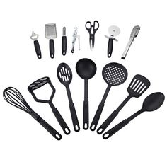 14 Piece Deluxe Kitchen Tool and Utensil Set - Black