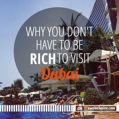 Why You Don't Have to Be Rich to Visit Dubai | From cheetahs on leashes to gold-plated cars, you will experience extreme opulence in Dubai. But even this city is accessible to the average traveler. via @aweinclusive