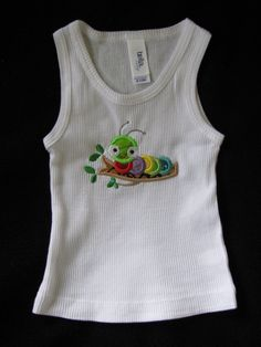 Applique/Embroidered Caterpillar Tank Top by EmbroiderybyAlison, $18.00