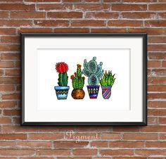 Cactus Family - watercolor illustration print, printable art, instant download
