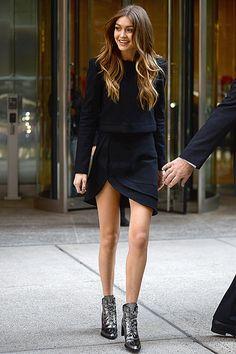 Gigi Hadid in Stuart Weitzman X Gigi Hadid boots. New York - November 2 2016