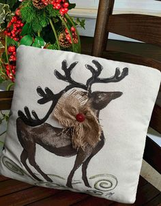 Hand-painted, Reindeer, Burlap Bow, Christmas Pillows, Holiday Decorations…