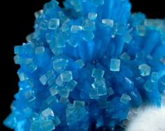 Detail of Cavansite on Mordenite with Calcite from Wagholi Quarry, Maharashtra, India