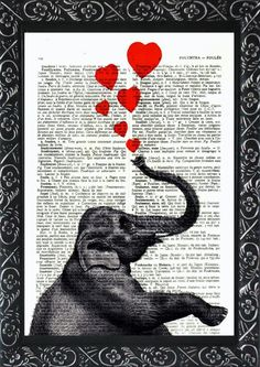 Elephant print love elephant painting Mothers present on an vintage french dictionary page HEARTS mixed media elephant home gifts(560) by frenchprints on Etsy https://www.etsy.com/listing/129154739/elephant-print-love-elephant-painting