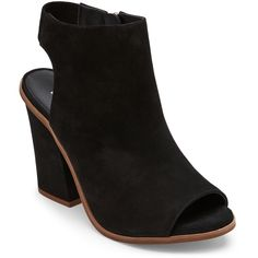 Steve Madden Black Valencia Peep Toe Cutout Booties ($50) found on Polyvore featuring women's fashion, shoes, boots, ankle booties, black, black cut-out booties, black booties, peep-toe ankle booties, black high heel booties and peep-toe booties