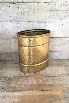 Wastebasket Brass Trash Can Floral Trashcan Brass Wastebasket Mid Century Brass Decor Brass Umbrella Holder Brass Bucket Gold Trash Can by TheDustyOldShack on Etsy