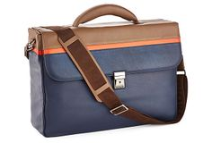 "Giorgio Fedon | Life Leather Striped Brief, Blue/Brown | This slim briefcase is crafted of cowhide leather in blue with touches of brown and orange. . The two-compartment case features a rear pocket and a band that attaches to rolling suitcases. The case also has internal compartments, a key clip, and an adjustable shoulder strap with leather ends | 16"" x 11"" x 4"" 