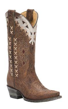 Cavender's by Old Gringo Women's Vintage Brown Goat with Southwest Design Snip Toe Western Boots   Cavender's