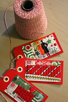 Handmade scrappy quilted gift tags || A Quilter's Table: Let It Begin