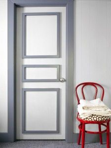 Door repair idea - could fill panels with thin veneer sheeting to cover scratches, holes.