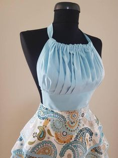 Blue paisley print women retro apron with triple tiered skirt , Aprons for women , Full kitchen apron , Cute chef apron Clown Clothes, Barbie Clothes, Corsage, How To Make Clothes, Making Clothes, Pin Up, Cute Aprons, Retro Apron, Sewing Aprons