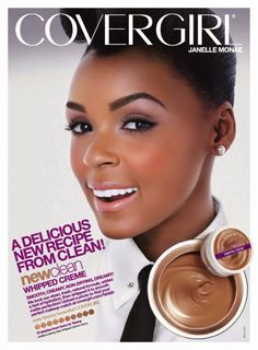 JANELLE MONAE 2013 COVERGIRL CLEAN WHIPPED CREAME FOUNDATION  ADVERTISEMENT