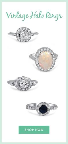 Sparkling halos encircle the center gems of these timelessly beautiful antique and vintage designs.