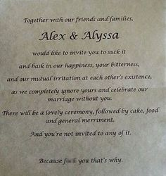 This 'un-invite' has gone viral in the run up to wedding season, it was posted to the social networking site Reddit by a woman who said she was fed up with her 'bullying' and 'narcissistic' parents