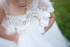 Pearly ivory tutu flower girl dress by YoungHeartsBoutique on Etsy, $120.00