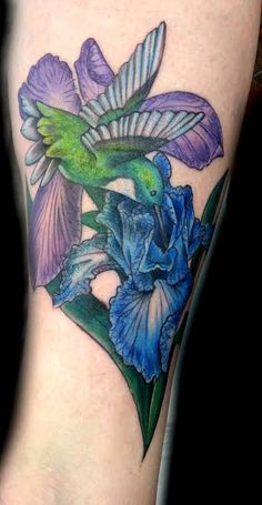 Iris flower and hummingbird Tattoo done by Bree Giesy at Damask Tattoo in Seattle, WA
