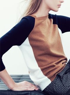 Love the classic colors in this color blocked sweater