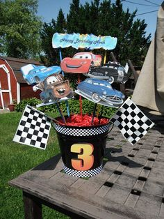 Cars Birthday Party Centerpieces by angilee123 on Etsy, $45.00
