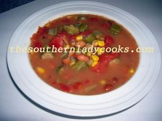 Pinto Bean Gumbo  --  hearty and delicious soup using dried pintos, plenty of fresh veggies, and seasonings.