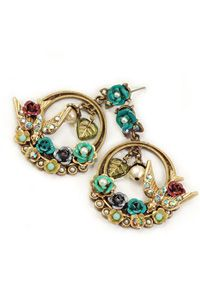 Hoop earrings feature a crystal bird that sits in a cluster of colorful flowers and pearls.  Post back for pierced ears only.  Size: 2 long x 1.5 wide  Metal finish is burnished bronze.
