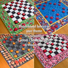 Custom Checkers Game Board / Quilted Table Runner - Any Fabric / Any Theme - Great Gift Idea
